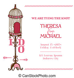Wedding Vintage Invitation Card - Bird Cage Theme - for...