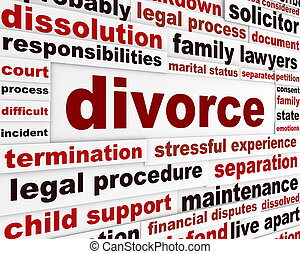 Divorce legal words poster design. Family separation...