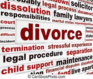 Divórcio, legal, palavras, cartaz, desenho