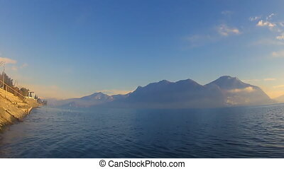 Lago Maggiore - The view of mountains and Lago Maggiore in...