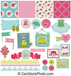 Scrapbook Design Elements - Baby Girl Set - in vector