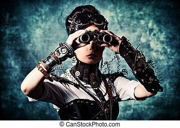 subculture - Portrait of a beautiful steampunk woman looking...