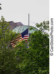USA flag isolated behind trees, New York, 9/11 memorial park