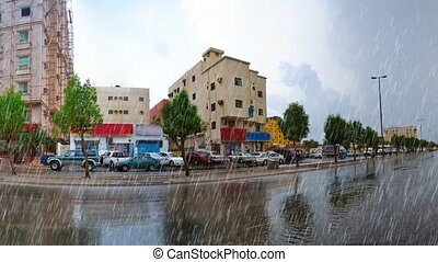 heavy rain over jeddah street