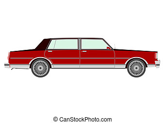 Sedan - Red retro sedan silhouette