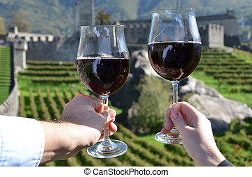 Pair of wineglasses Bellinzona, Switzerland
