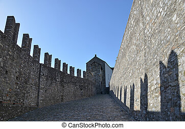 Ancient fortifications in Bellinzona, Switzerland