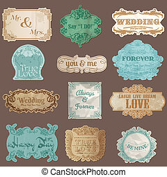 Vintage Paper Wedding Frame collection - various tags and frames for your design or scrapbook in vector