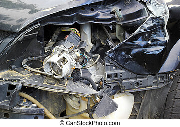 Car crash - Crashed car close up. The front part is severely...