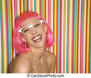 Woman in pink wig.