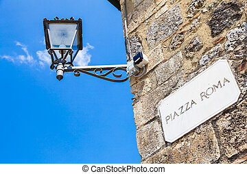 Piazza Roma - Monteriggioni, Tuscany, Italy Street plate of...
