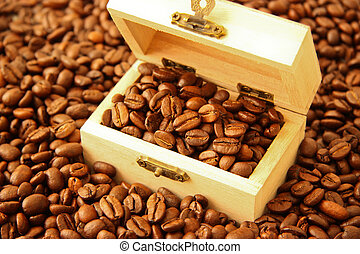 Coffee beans in a treasure chest