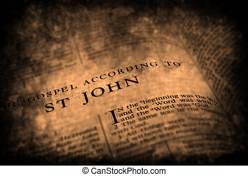 Bible New Testament St John - Open pages of bible isolated...