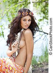 indianin, amerykanka, kobieta, młody, kostium