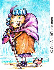 Old lady with her dog on the walk.Picture I have created...