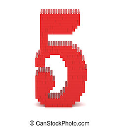Number5 built from toy bricks - Number5 built from red toy...
