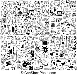 500 simplified design elements doodle icons, hand drawn...