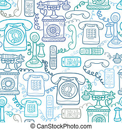 Vintage and modern telephones seamless pattern background -...