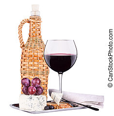 wine assortment cheese and grapes - bottle of wine with...