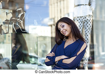 joven, mujer, Mirar, Tienda, ventana, Boutique