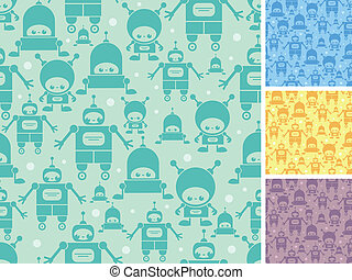Cute cartoon robots seamless pattern background - Vector...