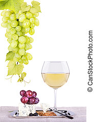 red wine assortment of grapes and cheese - bottles and...
