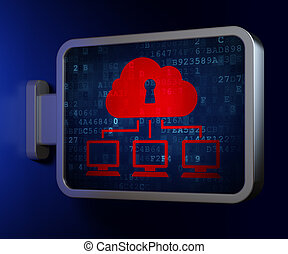Security concept: Cloud Network on billboard background -...