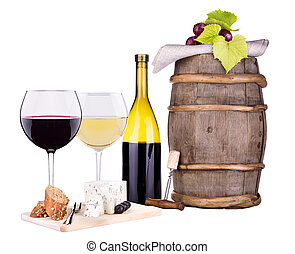 white and red wine with cheese - glass of wine, assortment...