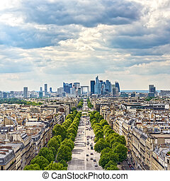 La Defense business area, Grande Armee avenue. Paris, France...