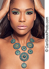 Beautiful African fashion model - Close up head portrait of...