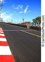 Monaco, Monte Carlo. Sainte Devote straight race asphalt,...