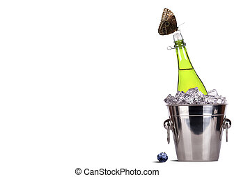 ice bucket with champagne - ice bucket,butterfly with bottle...