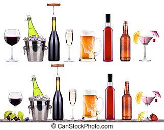 Álcool, coquetel, Cerveja, champanhe, vinho, vermelho