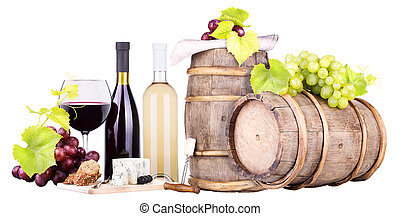 red and white wine - and white wine,barrel,food,grapes...