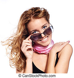 Closeup portrait of a young girl with eye glasses isolated on white background