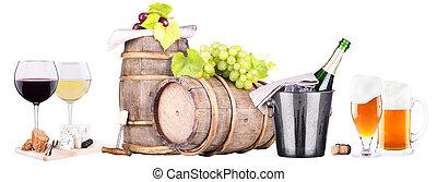 champanhe, vermelho, branca, vinho, Cerveja