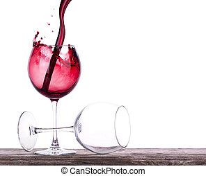par, cheio, vazio, vinho, ÓCULOS