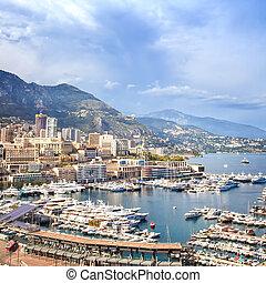 Monaco Montecarlo principality aerial harbor view. Azure...