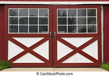 red barn door - double red and white barn door in rhe coutry