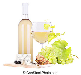 white wine assortment cheese and grapes - bottle of wine...