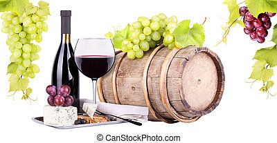 grapes on a barrel wine and cheese - grapes on a barrel with...