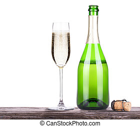 with bottle of champagne and glass - grapes with bottle of...