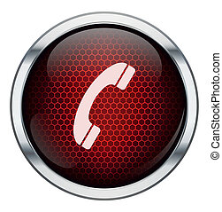 Red honeycomb phone icon