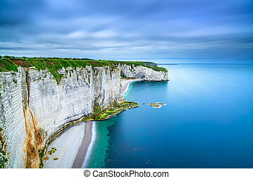 Etretat, rock cliff and beach. Aerial view. Normandy, France...