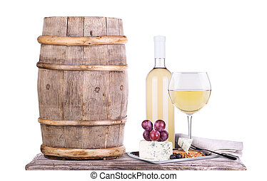 grapes on a barrel with corkscrew, wine glass and cheese