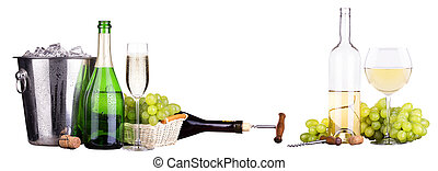 champagne and wine isolated - champagne, wine with,ice...