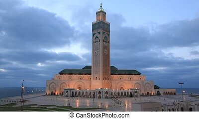 Mosque in Casablanca, Morocco - Great Mosque of Hassan II at...