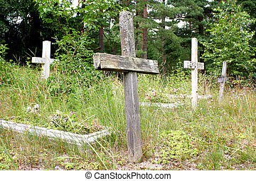 Old crosses - Old abandoned cemetery with wooden crosses in...