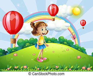 A happy girl watching the air balloons - Illustration of a...