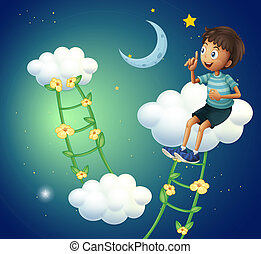 A boy sitting at the cloud - Illustration of a boy sitting...